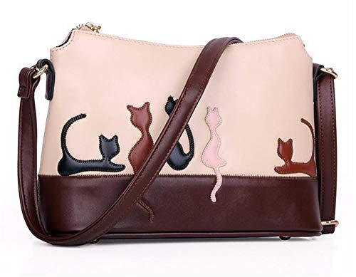 Applique Messenger Bag (Handtasche, Umhängetasche, Umhängetasche,Vintage Frauen Katze Kaninchen Leder Appliques Umhängetasche Cross Body Handtasche Frauen Messenger Bags Designer Marke Korea)