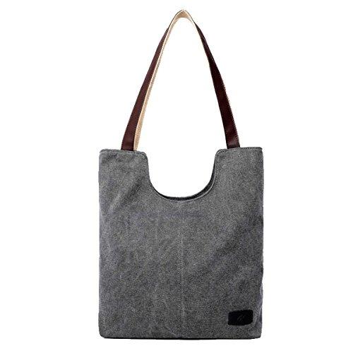 Butterme Frauen Damen lässige Vintage Leinwand Tagesgeldbeutel Top Handle Umhängetasche Tasche Shopper Handtasche (Grau)