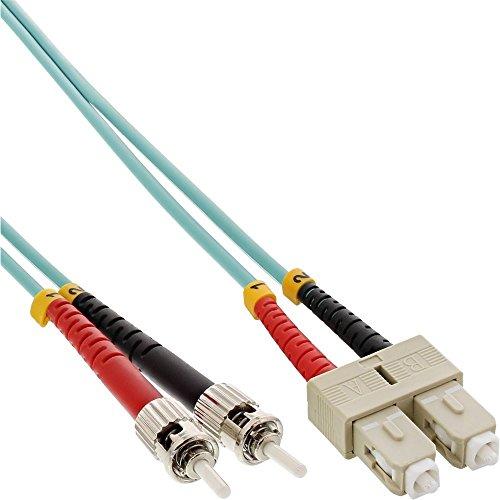 InLine 82504O LWL Duplex Kabel, SC/ST, OM3, 0,5m Türkis -