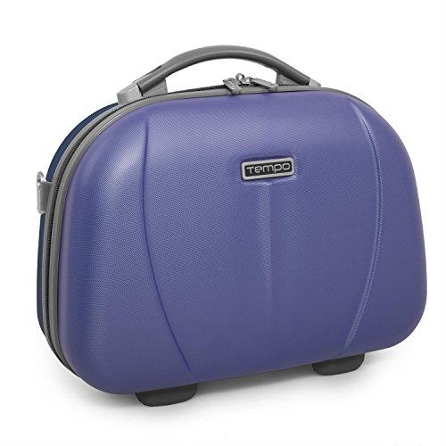 TEMPO - 64226 Neceser rígido ABS grande de viaje, maleta de aseo. Cierre cremallera doble cursor. Asa retráctil. Espejo interior. Bicolor., Color Azul claro-Marino