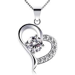 B.Catcher Kette Damen 925 Sterling Silber Zirkonia mit Herz Halskette mit Etui,Italien Kette 45cm