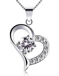 B.Catcher Collar de Plata de Ley con corazón Para mujer Con una caja Regalo del