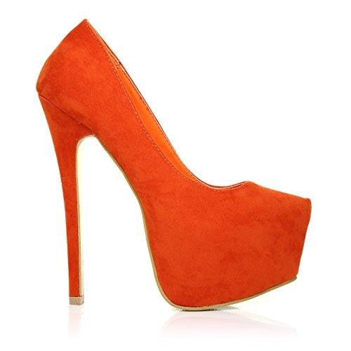 DONNA Damen Pumps Orangefarbene Wildleder Stilletos Sehr Hoher Absatz Orangefarbenes Wildleder