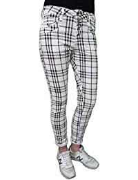 Jewelly by Lexxury Novio Holgado Mujer Stretch Pantalones a Cuadros Tartan  Patrón de1c77f58709