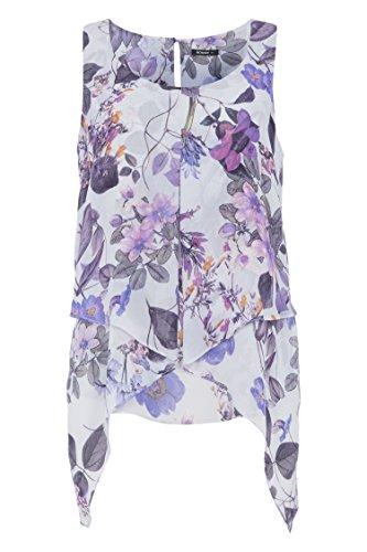 Roman Originals Damen Asymmetrisches Top mit Blumenmotiv Flieder Violett