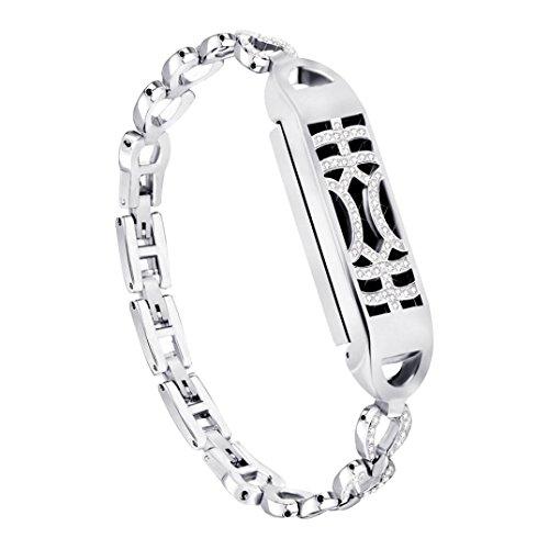 samLIKE 215mm Montre bracelet pour Fitbit Flex 2Métal magnétique adsorption Interrupteur brillante Design Bracelet pour femme 3couleurs, Silber