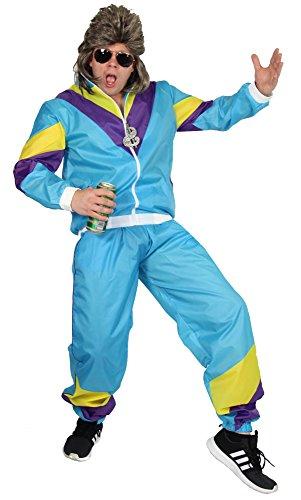 Foxxeo 40296 I 80er Jahre Trainingsanzug Kostüm für Herren 80s Jogginganzug Assi Gr. S-XXL, Größe:L