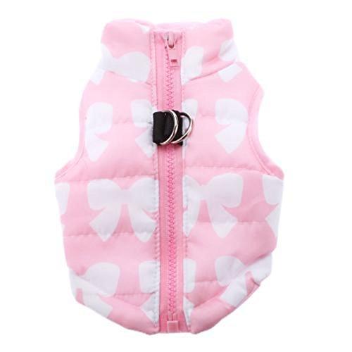 Geschirr Jacke Weste aus gepolsterter Baumwolle dreiteilige für Welpen kleine Hunde pink mit Motiv von Bowknot XS (Weste Motiv Baumwolle)