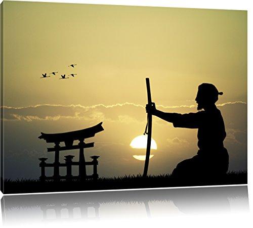 alter Samurai-Meister vor Horizont, Format: 80x60 auf Leinwand, XXL riesige Bilder fertig gerahmt mit Keilrahmen, Kunstdruck auf Wandbild mit Rahmen, günstiger als Gemälde oder Ölbild, kein Poster oder Plakat -