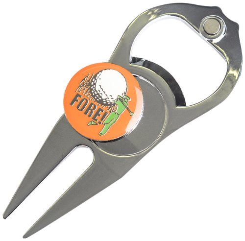 Hat Trick Openers 6-in-1 Golf Divot Tool, Fore Logo, Silver by R2B, Inc.