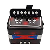 7 Keys 2 Bass Accordion Kids Accordion Toy Solo Ensemble Instrument Musical Educational Instrument for Early Childhood Teaching Black