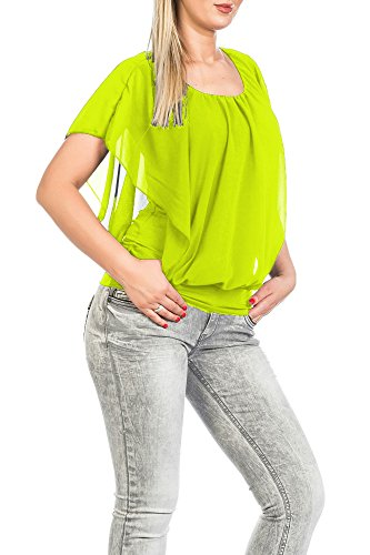 FreyFashion - Made in France Hochwertiges Damen Shirt Tunika Bluse T-Shirt Top Kurzarm, Stark Reduziert Gelb
