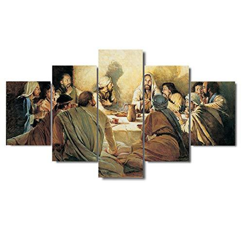 HXZFF Image Printed on Canvas 5 Piece Set HD Scenario Moderno Arte Poster Dipinti Decorazione murale Nessuna Cornice Soggiorno Camera da Letto Ufficio Pittura 200x100 cm Pittura a Olio Euro