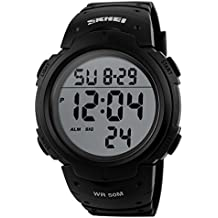 Reloj de pulsera digital unisexo de moda con dial grande Reloj Deportivo de Silicona Correa Impermeable(negro)