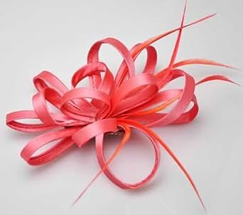 Rose corail Fascinateur rubans plumes Mesh Femmes Fashion morceau de cheveux