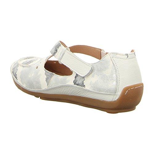 Softwaves Femmes Chaussons plats blanc, (weiß-kombi) 4.69.04 ALASKA-WHITE Weiß