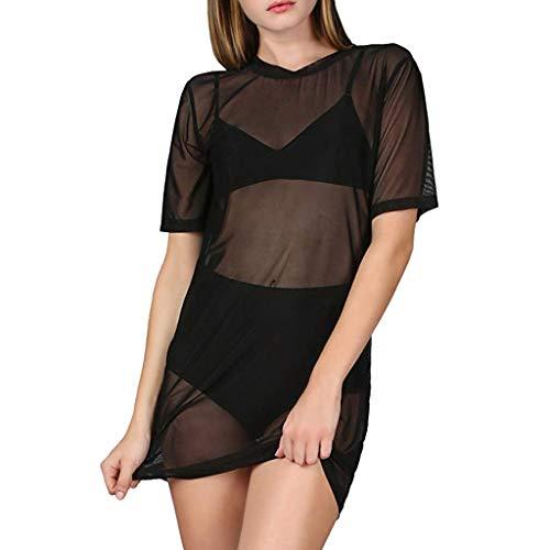 Damen Sexy Tshirt Kleid Dasongff Durchsichtig Mesh Cover Up Modisch Minikleid Kurzarm Rundhals (Halloween Arbeit Up Für Dress Die)