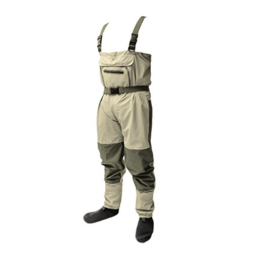 T TOOYFUL Outdoor Fishing Chest Waders Hosen Und Stiefel Mit Y Trägern Wasserdicht Und Atmungsaktiv Für Männer Frauen Erwachsene - Khaki - M