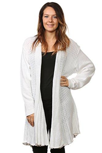 Femme pour femme en tricot Cascade Boyfriend cardigans pulls complète manches longues Top Plus Tailles Blanc