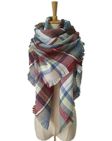 XJoel Lady Comfort Warm Fashion Lovely Chunky Tartan Plaid Blanket
