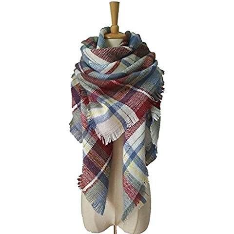 XJoel Señora Comfort cubierta de la manera hermosa caliente grueso de la tela escocesa del abrigo del