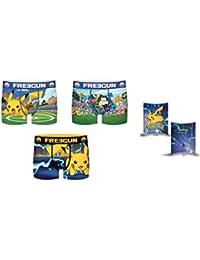 FREEGUN Boxer Pokemon Slip (Lot de 3 Garçon