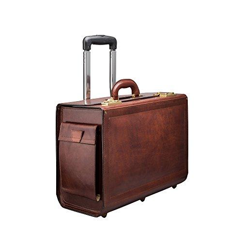 Maxwell Scott® Pilot-Case à roulettes en Cuir Italien - Marron Clair (VareseW)