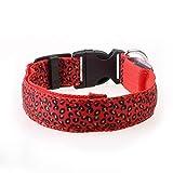 Cvthfyky Hundehalsbänder für kleine Hunde LED-Licht Haustier Kragen Leucht Kragen Leopard Flash Pet-Band (Color : Red, Size : M)