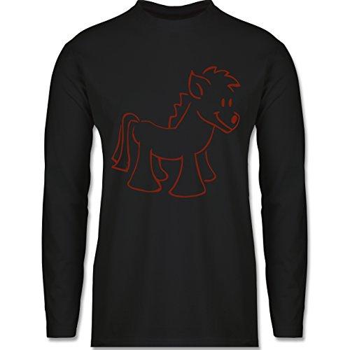 Shirtracer Pferde - Pony - Herren Langarmshirt Schwarz