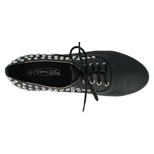 Mesdames Spot sur Casual Plat Chaussures à lacets style–f8870 Noir - noir