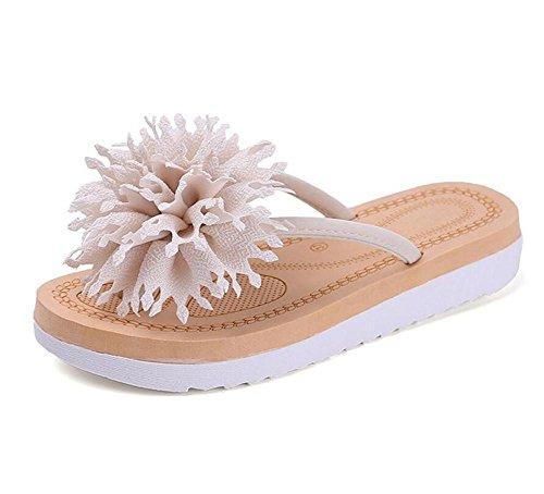 LDMB Bohemia Flip Flops Pantoffeln Frauen Sommer Big Flowers Flat Bottom Anti-Slip Beach Sandalen meters white