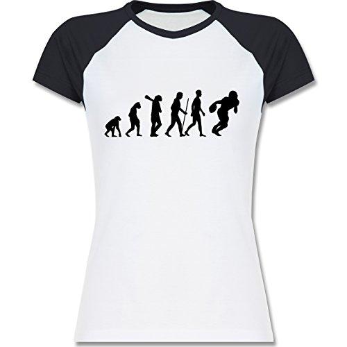 Shirtracer Evolution - Football Evolution - Zweifarbiges Baseballshirt/Raglan T-Shirt für Damen Weiß/Navy Blau