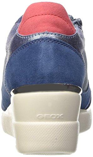 Geox D Stardust A, Baskets Basses Femme Bleu (Denim)