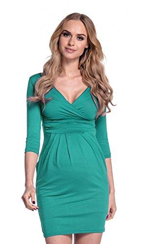 Happy mama. donna. abito elasticizzato prémaman elegante vestito con tasca. 236p (verde acqua, it 48, 2xl)
