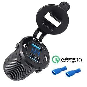 Wohnwagen CHGeek Auto USB Steckdose,Dual Quick Charge 3.0 USB Steckdose mit LED Digital Voltmeter,Metall 250W Wasserdichte12V Auto Zigarettenanz/ünder mit Stromschalter f/ür Motorrad LKW und mehr.