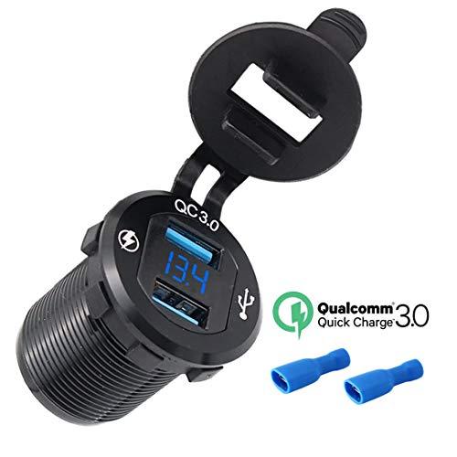 USB Auto Steckdose, 12V/24V 36W Auto Ladegerät Dual USB Quick Charge 3.0 Ladegerät Wasserdichte Auto Zigarettenanzünder Adapter mit LED Digital Voltmeter für Motorrad, Wohnwagen, LKW und mehr -Blau (Auto Usb-adapter-3a)