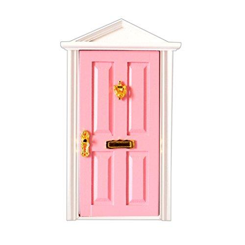 Juguetes Juegos Casas de muñecas Miniatura Puerta de Madera con Herrajes 4 Panles Cima Apuntada - Rosa