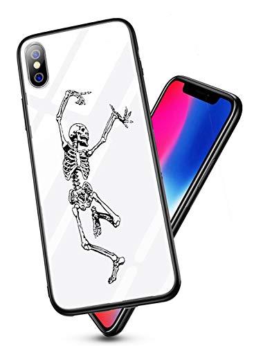 für iPhone X Hülle Transparent Silikon Rahmen Handyhülle Durchsichtig Aufklappen Schutzhülle,Gehärtetem Glas Bumper Tier Süß für iPhone X (Skull) ()