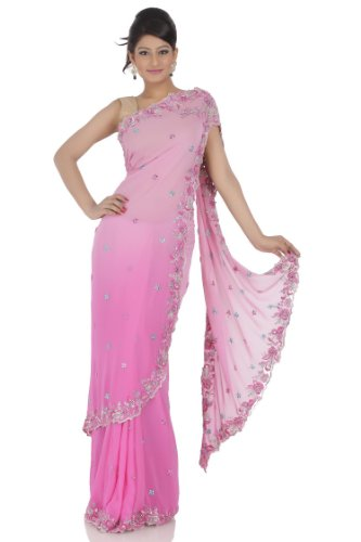 Chhabra555 Pink Georgette One Minute Saree