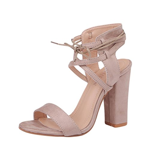 UFACE GroßE Riemchen-Sandaletten Damen Block High Heel Sandaletten Plattform Verband Schuhe Schnalle Heels (35, Beige)