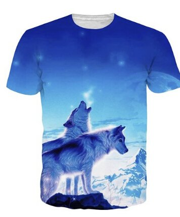Bfustyle Hip Hop Style Unsex 3D-Druck-Tees Wolf-T-Shirt Paar-T-Shirts Wolf 12