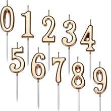 Yaomiao 10 Pieces Birthday Numeral Candles Cake Numeral Candles Number 0 - 9 Glitter Cake Topper Decoration for Birthday Party Favor (Champagne Gold)