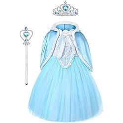 URAQT Filles Reine des Neiges Princesse, Fille-Robe de Princesse Elsa, Costumée Déguisements Robe de Soirée d'Halloween/Noël/Carnaval,Bleu, 140cm