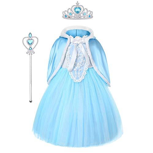 URAQT Mädchen Kostüm Eiskönigin ELSA Kleid mit Umhang, Kinder Prinzessin Kleid Cosplay Kostüme, Kinder Verkleidung Party Weihnachten Halloween Fest, Krone Zauberstab