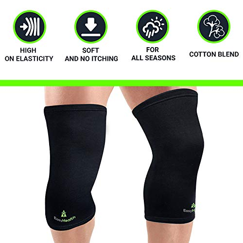EasyHealth Premium Compression Knee Support, Knee Cap,Knee Sleeves brace for Running, Jogging, Sports, Joint Pain Relief, Arthritis and Injury Recovery For Men and Women