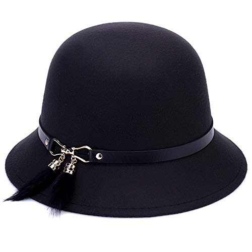 Amorar Damen Wintermütze Herbst Beanie Cap Warme Eimer Hüte Hochzeit Teeparty Kentucky Derby Hüte Bowler Kostüm Hut,EINWEG - Bowler Hut Frauen Kostüm