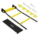 INTEY Trainingsleiter für Koordinationsübungen und Beweglichkeitsübungen mit 5 Saugknöpfe, Verstellbare Agility Ladder inkl. Erdspieße und Tragetasche für Kinder und Erwachsene, Gelb/Schwarz
