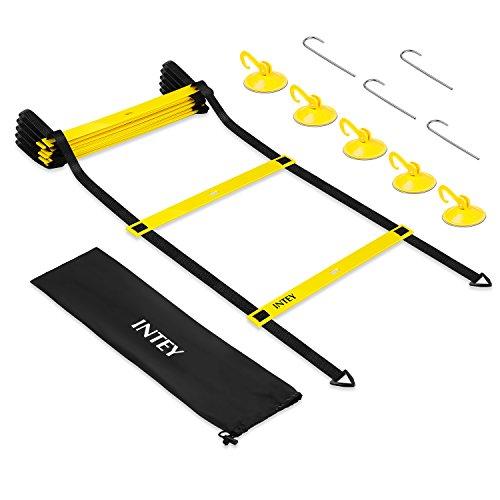 INTEY Trainingsleiter für Koordinations-und Beweglichkeitsübungen Agility Ladder mit 5 Saugknöpfe, Erdspieße und Tasche für Kinder und Erwachsene