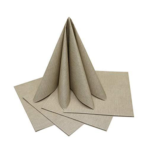 the napkins Servietten Stoffähnlich Premium - Produziert in Italien - Geburtstag, Hochzeit, Taufe - Taupe, 50 Stück (40cm x 40cm)