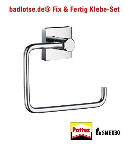 SMEDBO HOUSE glänzend WC-Papier-Halter RK341 Klebe-Set ohne Bohren (Design House Wc-papier-halter)
